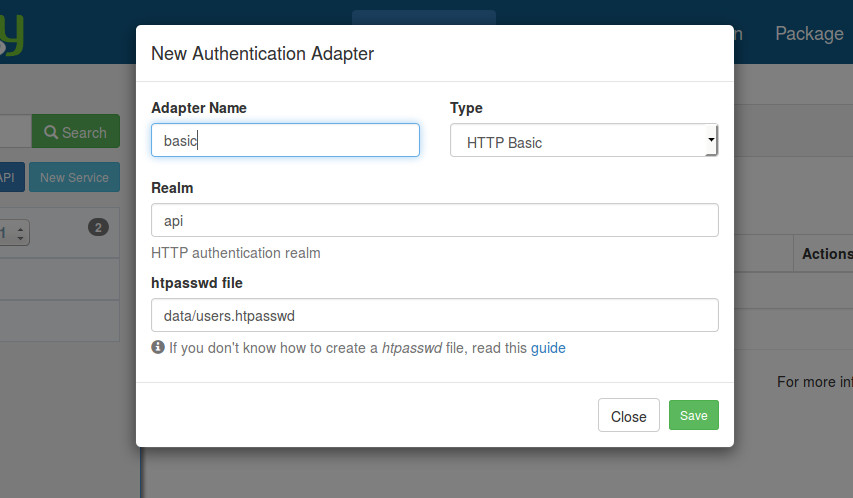 Create an HTTP Basic authentication adapter