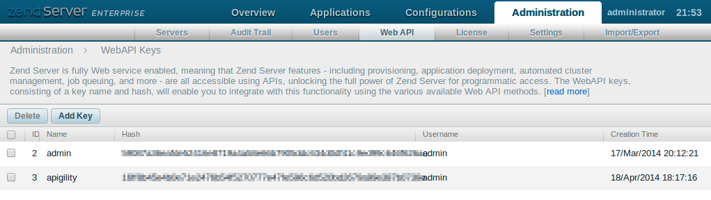 Zend Server Web API Screen