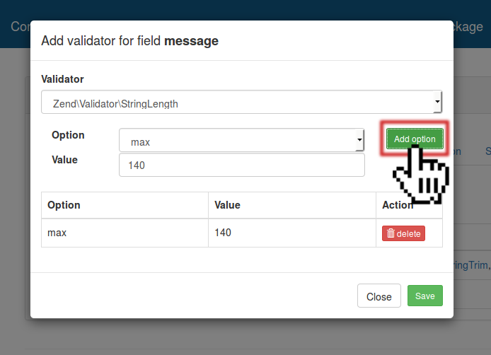 Message Field - StringLength Validator