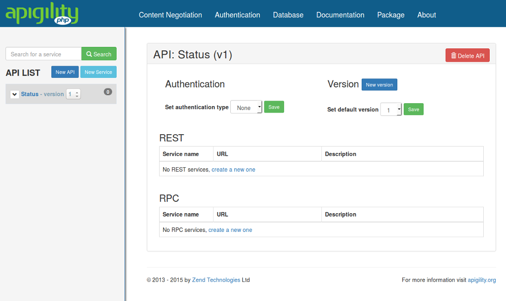 Apigility API Overview Screen
