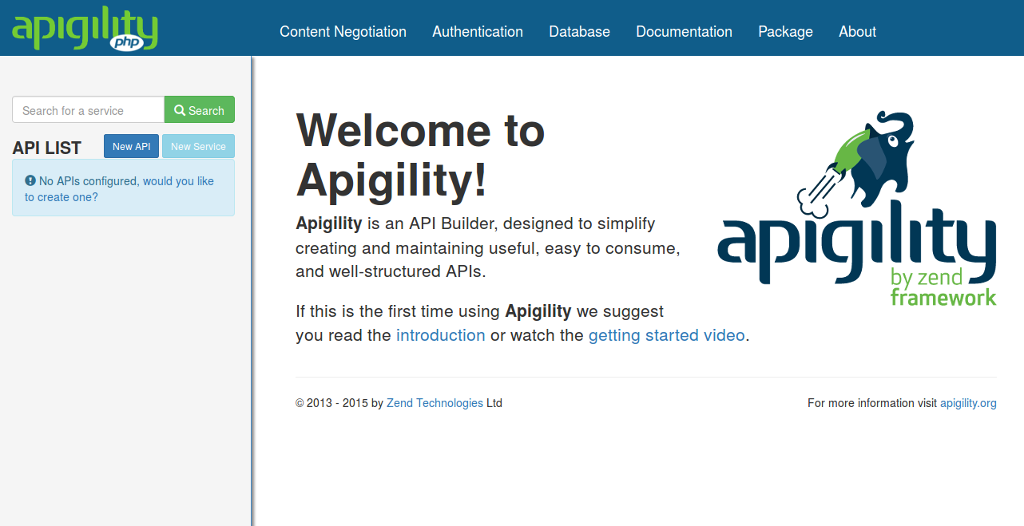Apigility Welcome Screen
